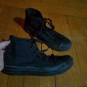 Ladies Sz 6 ALL Black Converse Sneakers Goth Punk